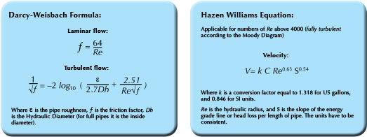 Darcy-Weisbach formula, Hazen Williams Equation