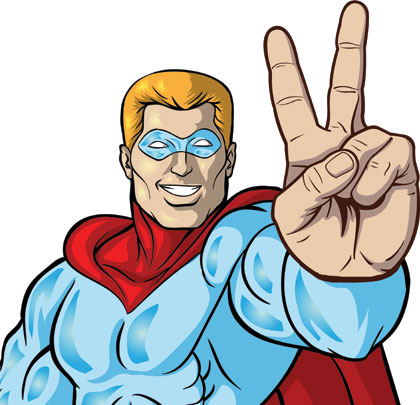 super hero peace sign