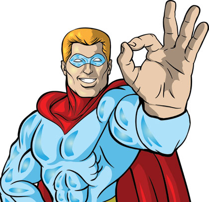 Super hero ok sign